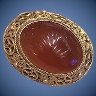 Antique Chinese Gild Sterling Silver Filigree Red Carnelian Pin Brooch