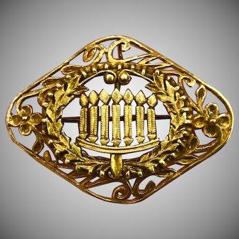 Art Deco Vintage Gild Sterling Silver Pin Brooch Pendant