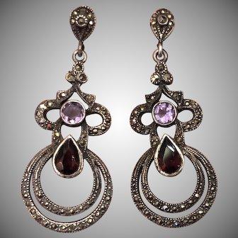 Vintage Garnet Amethyst with Marcasite Sterling Silver Dangle Earrings