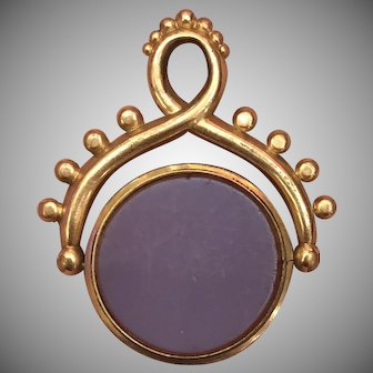 Victorian Gold Filled Purple Colored Glass Fob Seal Pendant