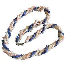 Vintage Multi Strands Natural Angel Skin Coral with Sodalite Beaded Necklace