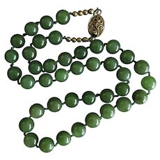 """Vintage Spinach Green Nephrite Jade Hand Knotted Beaded Necklace 17.5"""""""