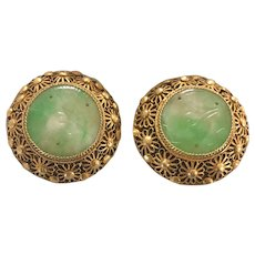 Antique Chinese Gilt Filigree Sterling Silver Hand Carved Apple Green Jade/Jadeite Clip Earrings
