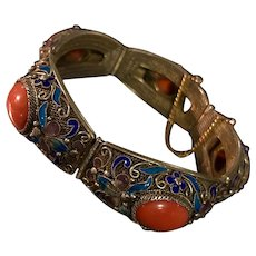 Antique Chinese Gild Sterling Silver Filigree Enamel Coral bracelet