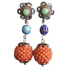 Antique Chinese Gild Sterling Silver Filigree Enamel Woven Salmon Coral Dangle Drop Earrings