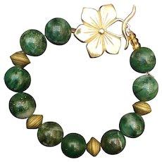 Vintage Natural Jade Stone with Fancy Flower Sterling Silver Clasp Bracelet
