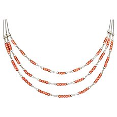 Beautiful Three Strands Natural Red Coral Sterling Silver Beaded Necklace