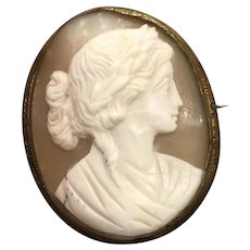 Antique Victorian Large Shell Cameo Pin Brooch