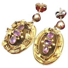 Antique 14K Gold Victorian Amethyst with Leaves Design Dangle Drop Earrings