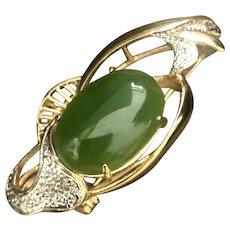 Beautiful Jade Gold Plated Brooch Pin