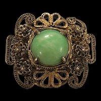 Antique Chinese Apple Green Jade Jadeite Gild Sterling Silver Filigree Pin Brooch