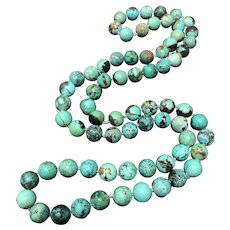 """Antique 11mm Hand Knotted Natural Turquoise Beaded Endless Necklace 33"""""""