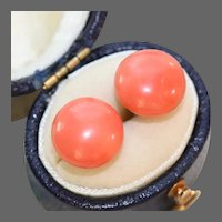 Antique 9k White Gold Natural Salmon Coral Post Earrings