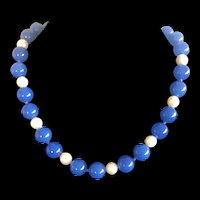 Vintage Hand Knotted Blue Carnelian with Culture Pearl Beaded Necklace