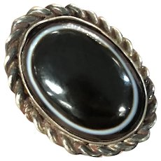 Antique Hand Made Bull Eyes Agate 800 Silver Adjustable Ring