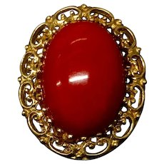 Amazing Antique 10k Yellow Gold Natural Ox Blood Red Coral Pin Brooch