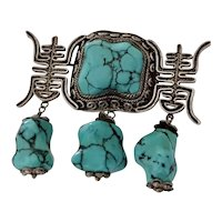 Fine Vintage Hand Crafted Chinese Silver Filigree Turquoise Pin Brooch