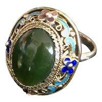 Vintage Chinese Enamel Filigree Silver Jade Ring