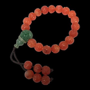 Antique Chinese Hand Carved Carnelian and Jade Jadeite Prayer Stretch Bracelet