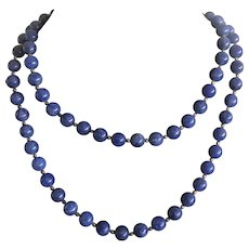 "Vintage Lapis Lazuli Beaded Necklace 32.5"""