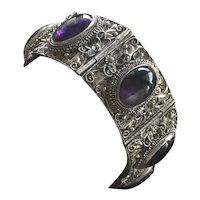 "Art Nouveau Chinese Filigree Sterling Silver Amethyst Bracelet 6.25"""