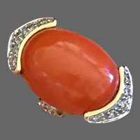 14K Gold Diamond Natural Salmon Red Coral Ring Size 6.75