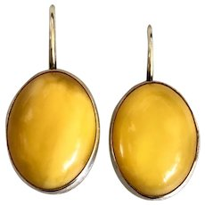 Vintage Butterscotch Amber Sterling Silver Earrings