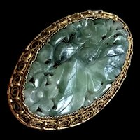 Antique Chinese Export Gold Vermeil Filigree Silver Carved Jade Jadeite Flower Brooch Pin
