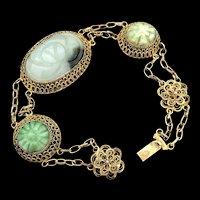 Antique Chinese Export Vermeil Filigree Hand Carved Apple Green Jade Jadeite Bracelet