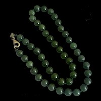 Vintage Spinach Green Nephrite Jade Hand Knotted Beaded Necklace Chinese