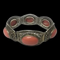 Amazing Antique Chinese Gilt Sterling Silver Filigree Natural Salmon Red Coral Bracelet