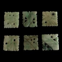 Antique Qing Dynasty Hand Carved Apple Green Jade Jadeite 6 Pieces Lot