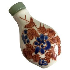 Vintage Chinese Hand Painted Coral Red Blue Flowers Bird Porcelain Snuff Bottle with Jade Lid