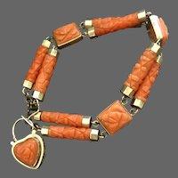 Georgian Natural Hand Carved Coral Heart Padlock Charm Bracelet 14K Gold