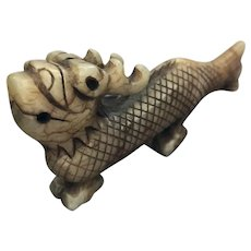 Vintage Chinese Hand Carved Natural Jade Dragon Fish Figurine