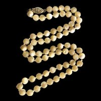 Rare Filigree 14K GF Clasp Beige Brown Mother of Pearl Hand Knotted Necklace