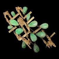 Vintage Estate 18K Yellow Gold Apple Green Jadeite Jade Pin Brooch