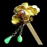 Antique Chinese Vermeil Silver Tourmaline Jade Jadeite Flower Hair Pin