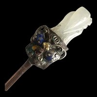 Antique Chinese Carved White Jade Silver Enamel Butterfly Copper Hair Pin