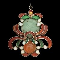 Antique Gild Sterling Silver Enamel Apple Green Jade Jadeite Carnelian Pendant