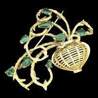 Vintage Estate 14K Yellow Gold Dark Green Jadeite Jade Pin Brooch