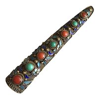 Antique Chinese Gild Sterling Silver Filigree Enamel Coral Turquoise Nail Guard Pin Brooch