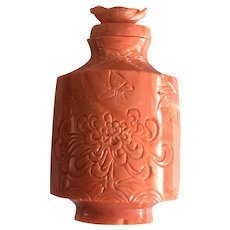 Vintage Chinese Natural Salmon Red Coral Snuff Bottle