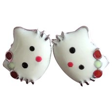 Hello Kitty Cat Face Sterling Silver Enamel Earrings