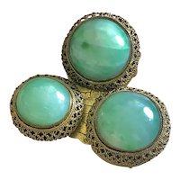 Superb Antique Chinese Apple Green Jade Jadeite Gild Filigree Belt Buckle