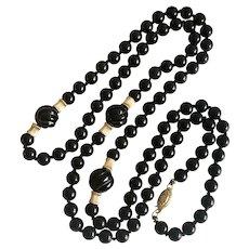 "Vintage 14K Gold Black Onyx Beaded Necklace 18.5"""