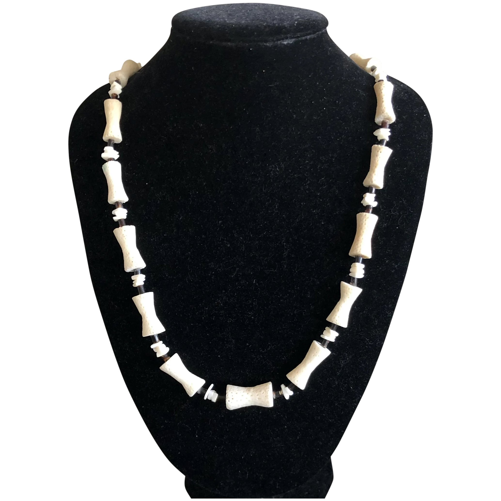 Vintage Dog Bone Shaped Natural White Coral Beads Graduated Necklace Phoenix Vintage Jewelry Ruby Lane
