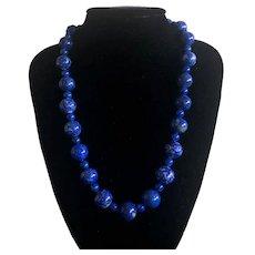 Vintage Large Lapis Lazuli Beaded Necklace