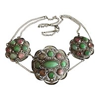 Art Nouveau Chinese Filigree Sterling Silver Apple Green Jadeite Jade Tourmaline Necklace