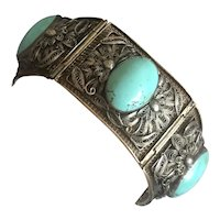 Art Nouveau Chinese Filigree Sterling Silver Blue Turquoise Bracelet